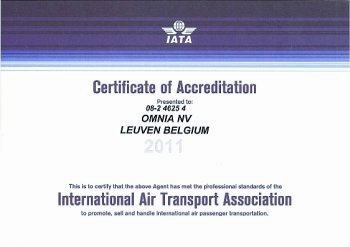 IATA Certificate of Accreditation 2011