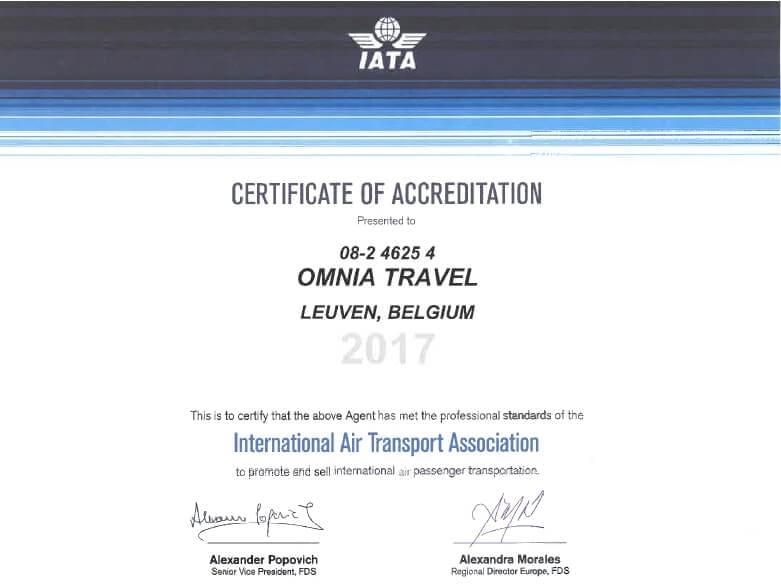 IATA Certificaat 2017