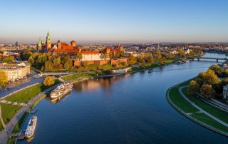 panorama van de stad Krakau