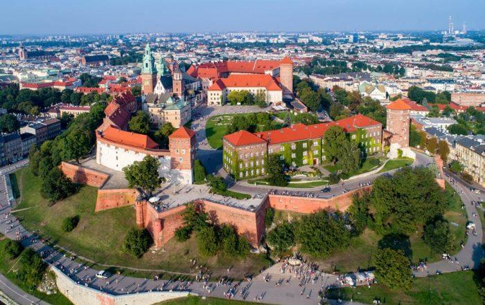 Panoramisch zicht op Krakau