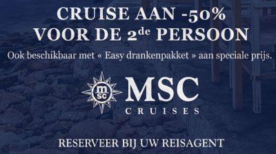Promotie MSC Cruises – 2de persoon aan halve prijs