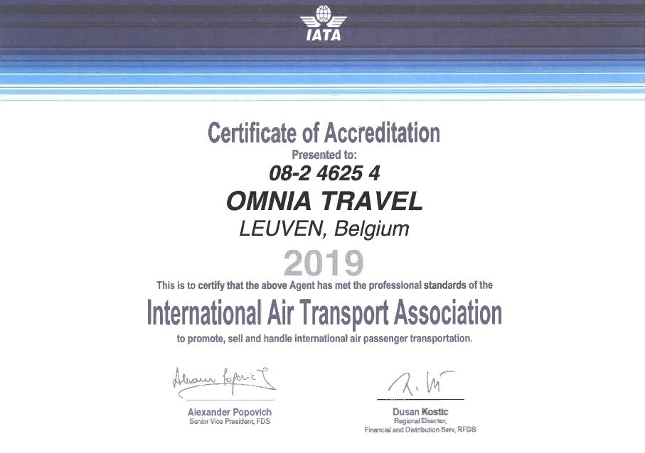 IATA Attest Omnia Travel 2019