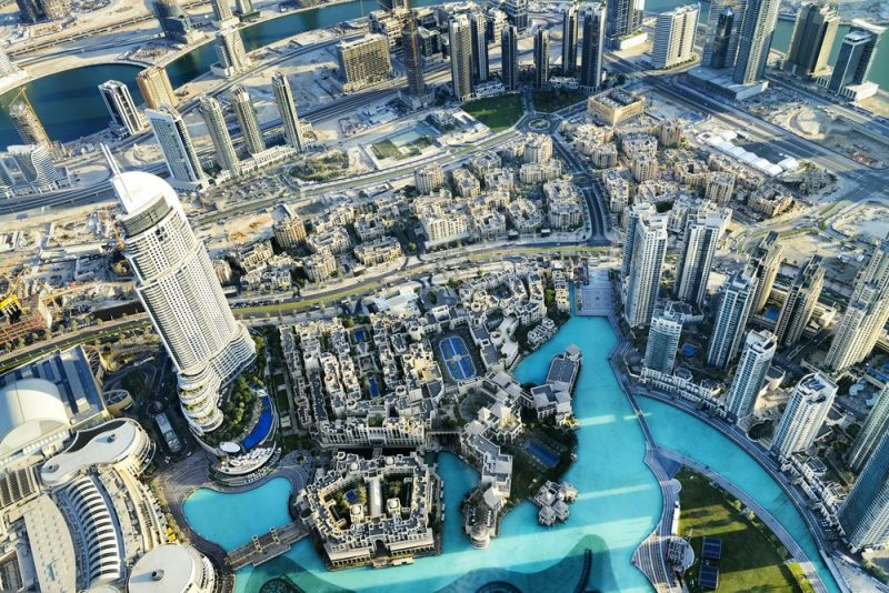 Overnachten in Downtown Dubai - luchtfoto - Downtown district