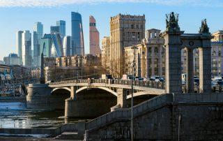 Rusland, de favoriete bestemming van collega Laura - zicht vanaf Borodinsky brug - Moskou