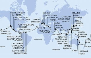 Kaart wereldcruise