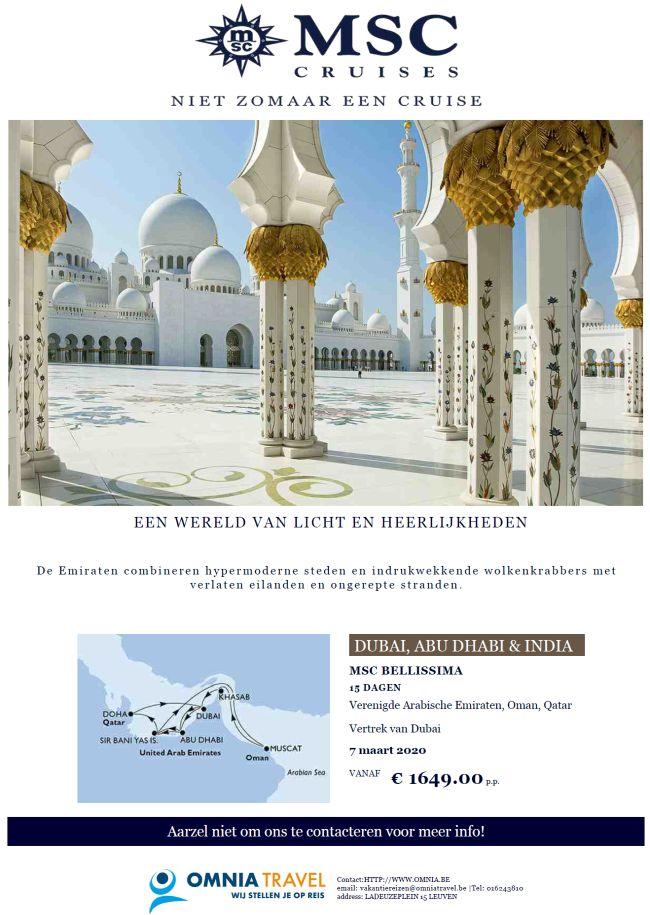 Last Minutes en Promoties - Cruises - MSC Cruises - Emiraten