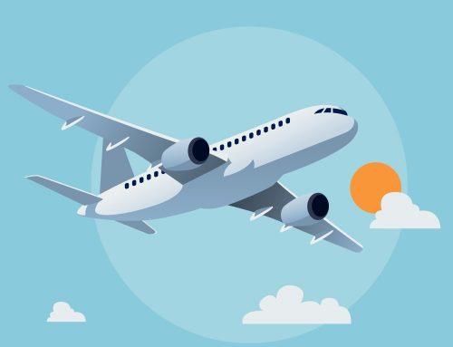 Met het vliegtuig op vakantie